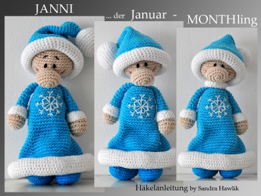 crochet pattern, amigurumi -  monthling for january - Janni - pdf, English or German