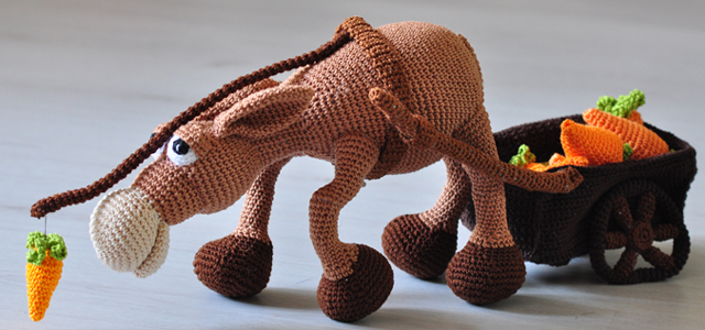 crochet pattern, amigurumi - donkey Gonzo with cart - pdf, English ... | 300x640